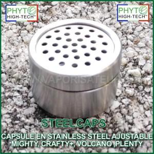 SteelCaps - Capsule doseuse en acier inoxydable ajustable pour vaporisateurs Mighty ou Crafty Plus