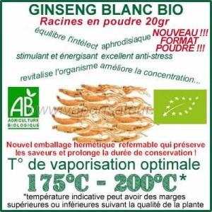 Ginseng Blanc Bio en poudre en sachet de 20gr