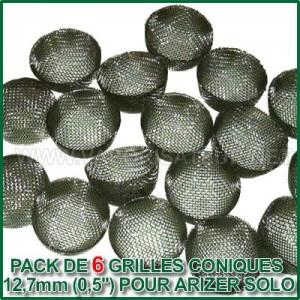 Pack de 6 grilles coniques en acier 12,7mm pour Arizer Solo