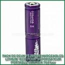 Deux piles lithium rechargeables 18350 EFES SideKick