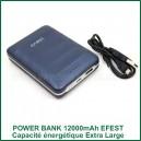 Power Bank Grande Capacité de stockage EFEST 12000mAh