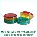 Mini Grinder Rastamaique 3 pièces avec compartiment de récupération d'herbe