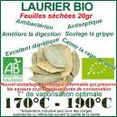 Laurier Bio - feuilles séchées coupées en sachet hermétique refermable de 20gr