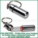 VialInSteel - Fiole en verre pour herbes et huiles dans fiole porte-clé en acier