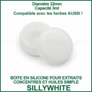 SillyWhite boite en silicone blanc pour huiles et extraits concentrés