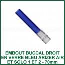 Embout-stem verre en couleur bleu court Arizer Air et Solo 1 et 2