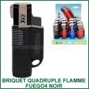 Briquet torche quatre flammes Atomic Fuego4 Noir