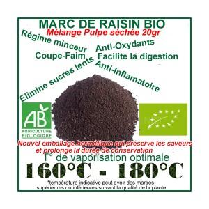 Pulpe séchée de Marc de Raisin Bio 20gr