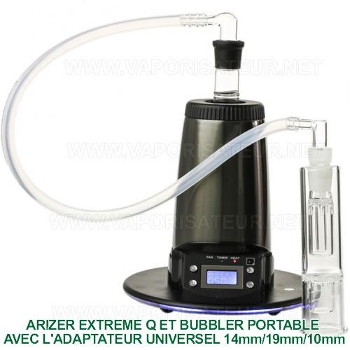 Arizer Extreme Q connecté à un mini bubbler portable avec l'adaptateur WP universel