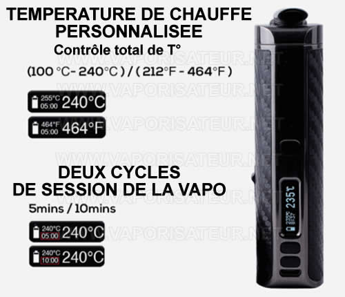 Contrôle de température de vapo Ace XMAX XVAPE - tous les paliers de chauffe