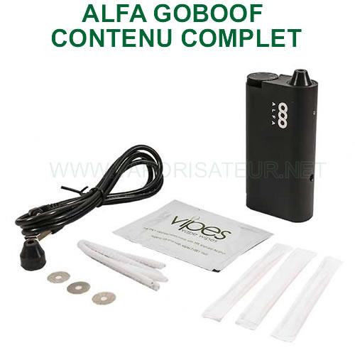 Contenu complet du vaporisateur portable Alfa Goboof - tout ce qui est fourni dans le pack d'origine