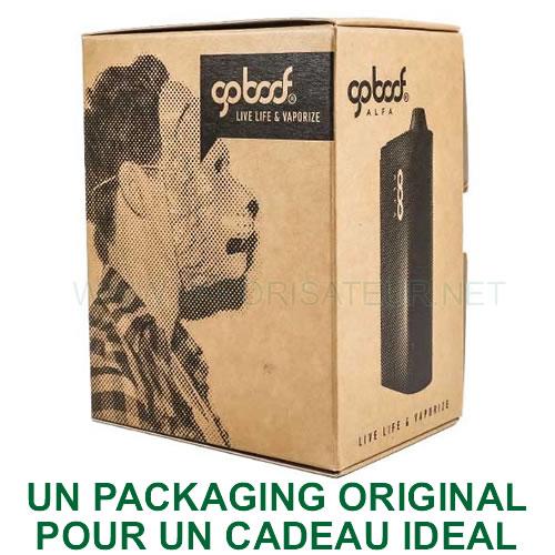 Packaging original du vaporizer portable Alfa Goboof idéal pour offrir un cadeau original