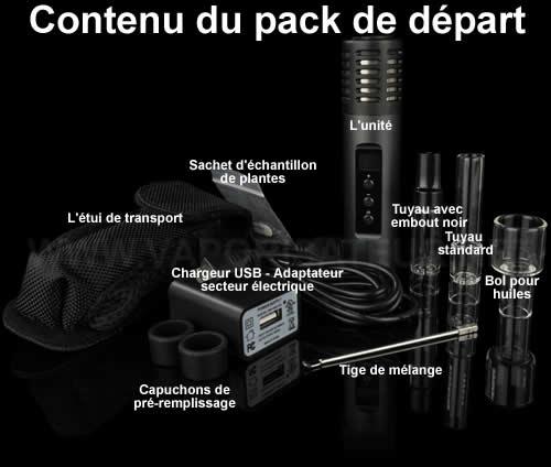 Contenu détaillé avec tous les produits composant le pack du départ du vaporisateur pen Arizer Air 2