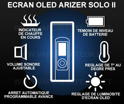 Les icônes d'écran OLED Arizer Solo 2