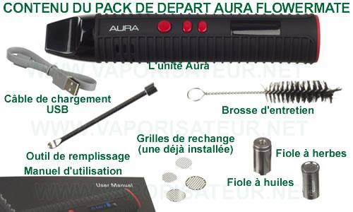 Le contenu Aura Flowermate en détail, tous les éléments présents dans le pack du départ