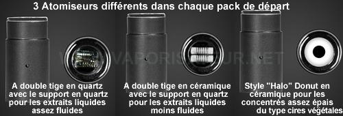 Trois types d'atomiseurs du vaporisateur pen Aura Dr Dabber