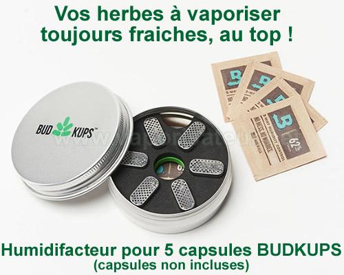 Boite humidifiante de poche pour transporter les capsules doseuses d'herbe BudKups Pax 2 et 3