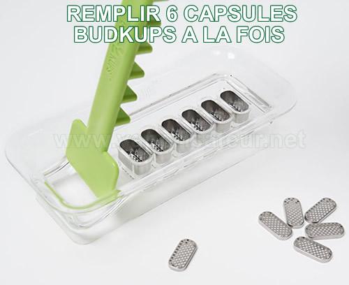 Set d'aide au remplissage de 6 capsules doseuses d'herbe BudKups pour Pax 2 ou 3