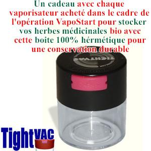Boite à herbes médicinales hermétique TightVac en cadeau avec chaque vaporisateur