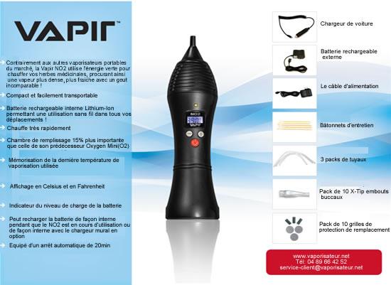 Les caractéristiques détaillés du nouveau vaporisateur Vapir NO2
