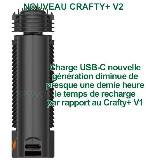 Charge USB-C du nouveau vaporisateur portable Crafty+ V2 fait gagner 25 minutes de temps de recharge