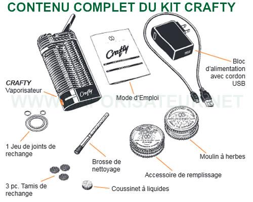 Le contenu détaillé de la boite contenant le vaporisateur Crafty de Storz et Bickel