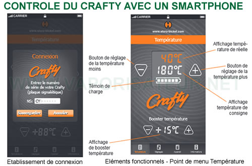 Gestion du vaporizer Crafty avec une application smartphone
