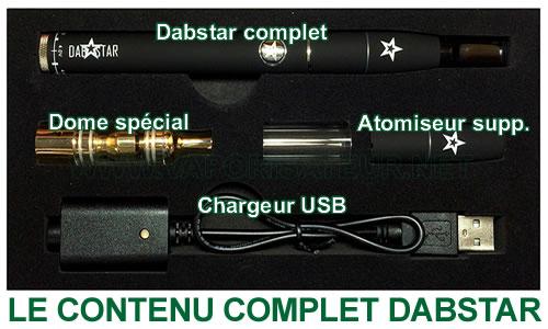 Le contenu au complet du vaporizer pen pour huiles Dabstar