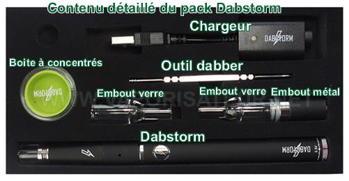Tous les éléments présents dans le pack de départ du vaporisateur pen Dabstorm