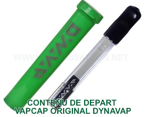 Tous les accessoires et éléments composant le pack de départ du vaporisateur portable VapCap Original Dynavap