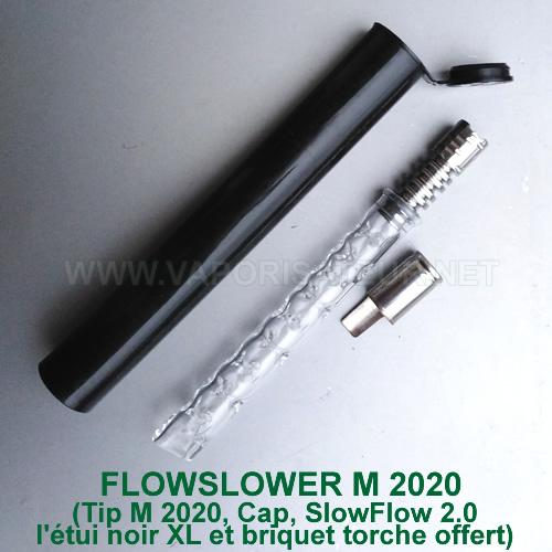 VapCap M 2020 DynaVap avec stem en verre SlowFlow 2.0 remplaçant le corps en métal avec condenseur