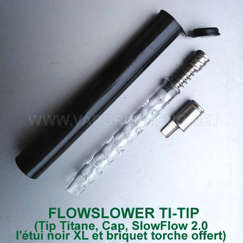 FlowSlower vaporisateur DynaVap avec tip en titane et stem corps en verre qui refroidit la vapeur SlowFlow 2.0
