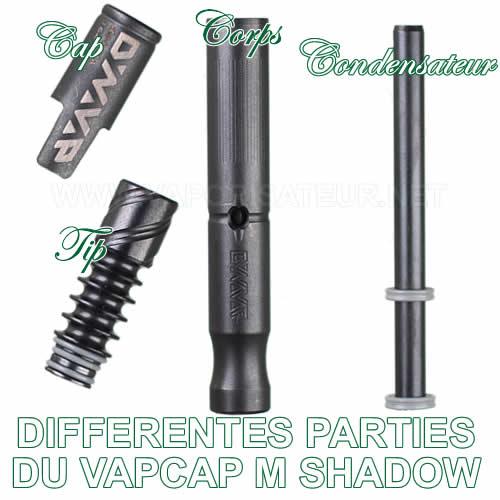 Différentes parties du vaporisateur portable DynaVap VapCap M Shadow