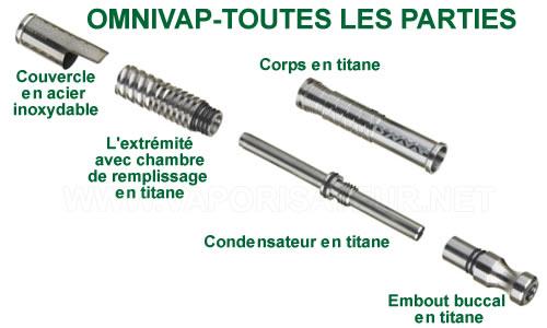La présentation détaillée de tous les éléments composant le pack vaporisateur OmniVap DynaVap