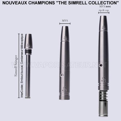 Les trois pièces en titane composant le stem MVS Simrell Modular Vortex System Collection pour vaporizers DynaVap