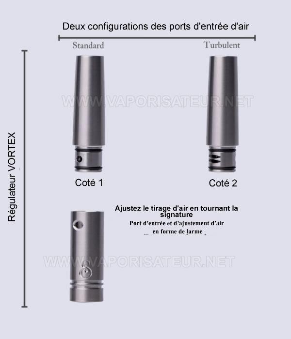 MVS Simrell DynaVap stem en titane et ses deux pièces supérieures modulables permettant deux types de gestion d'arrivées d'air
