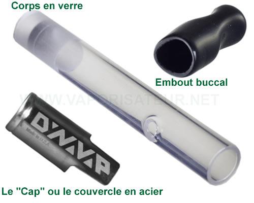 La présentation en détail de toutes les parties composantes du vaporizer VapCap Original Dynavap