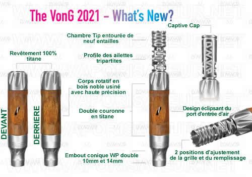 Caractéristiques phâres du vaporisateur Vong 2021 DynaVap - toutes les différences avec les versions NonaVong et Hydravong