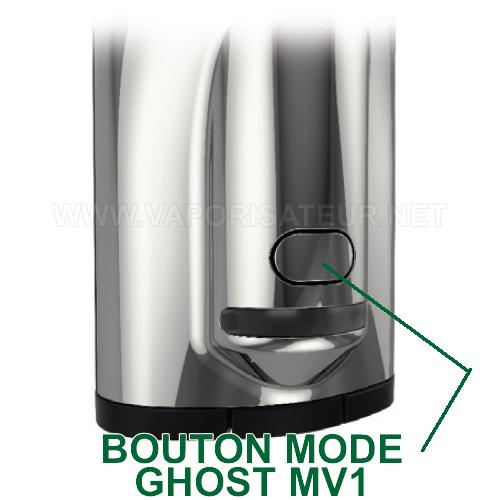 Bouton mode qui permet les configurations et le contrôle du vaporizer Ghost MV1
