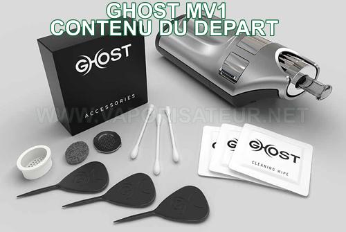 Contenu du pack complet Ghost MV1 - tous les accessoires fournis