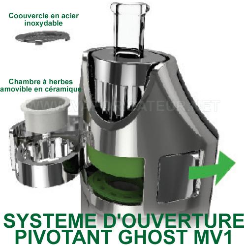 Système d'ouverture pivotant du vaporizer Ghost MV1 - présentation