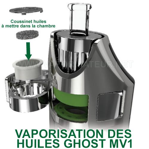 Vaporisation des huiles CBD avec Ghost MV1 - l'emploi du coussinet à huiles