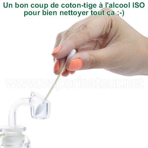 Comment bien nettoyer le vaporisateur avec un coton-tige Glob Mops XL 2.0 imbibé à l'alcool isopropylique