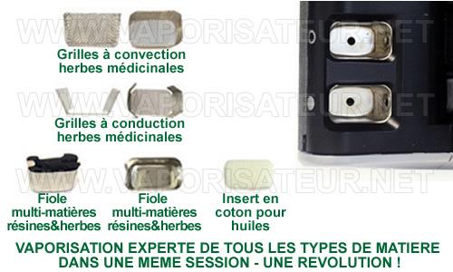 Toutes les grilles et les compartiments de remplissage du vaporisateur Haze V2.5