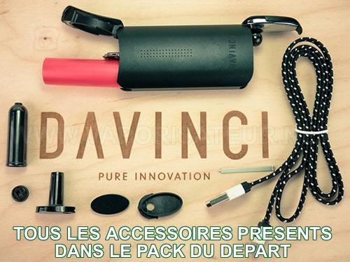 Tous les accessoires qui se trouvent dans le pack de départ vaporisateur IQ Da Vinci