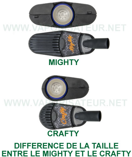 Différence de la taille entre le vaporisateur Crafty et vapo Mighty