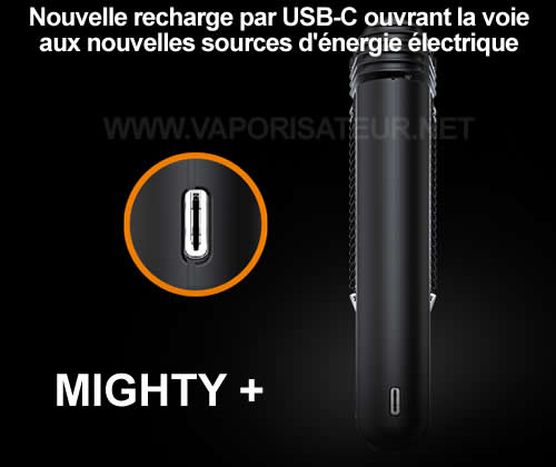 La nouvelle version 2021 du vaporisateur Mighty Plus se recharge par le biais d'un câble USB-C sur fiche USB de type A