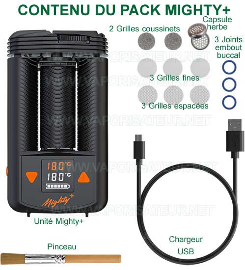 Contenu détaillé du pack vaporisateur Mighty+ - tous les accessoires fournis dans le package du départ
