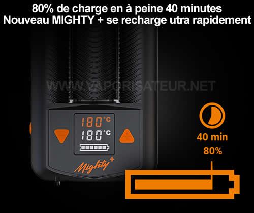 Fonctionnalité de superchargeur - vaporisateur portable Mighty+ charge en 40 minutes 4 cinquième de la capacité de sa batterie