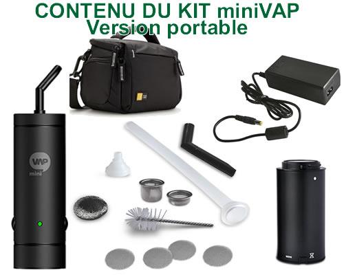 Le contenu complet d'un pack vaporisateur portable miniVAP